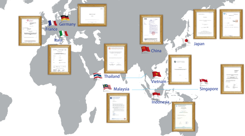 nano™ Technology has earned certificates in many Asian countries.