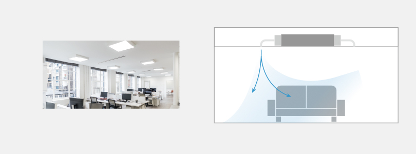 Image showing how a ceiling duct air conditioning units help an office look neat and organized, sending cool air down from the ceiling.