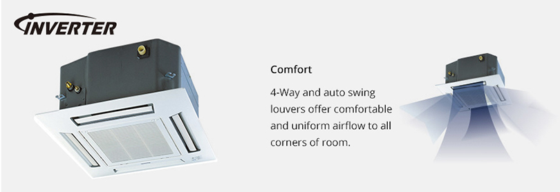4-way and auto swing louvers offer comfortable and uniform airflow to all corners of room.