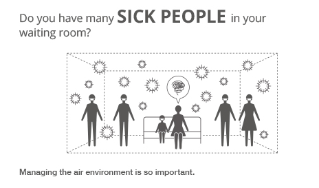 Image showing how since clinic waiting rooms are for sick people, air quality management is essential.