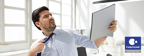 Image of a frustrated man taking off his necktie.