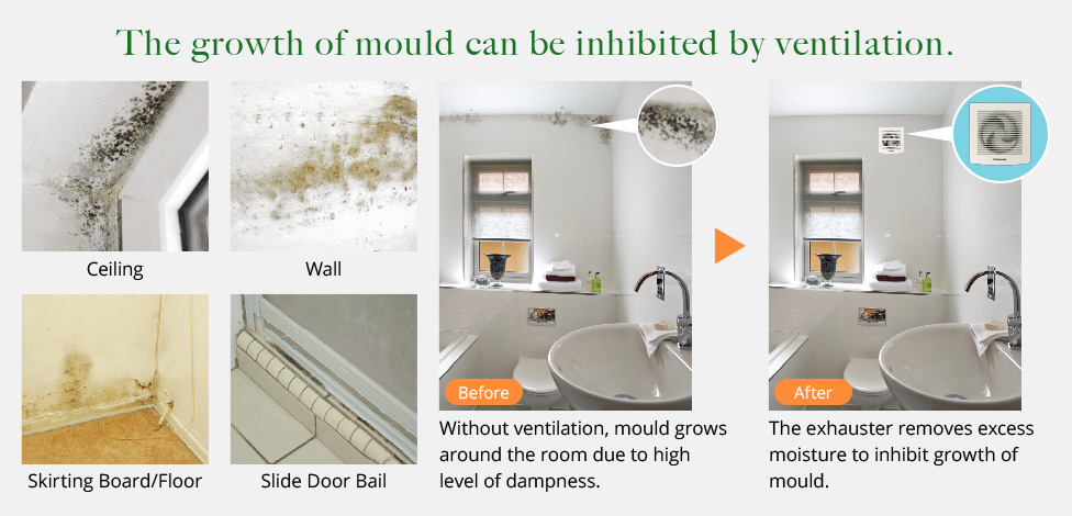Image showing how the installation of a ventilation fan in the bathroom can better prevent mold growth.