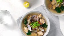 Clear clam and vegetable soup