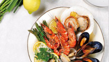 Seafood steamed with herbs and lemon