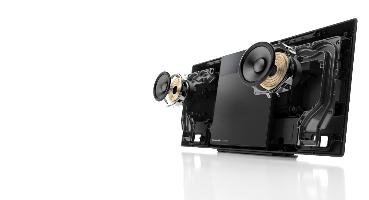 Osmicentimetrové reproduktory s plným rozsahem a port Twisted Acoustic