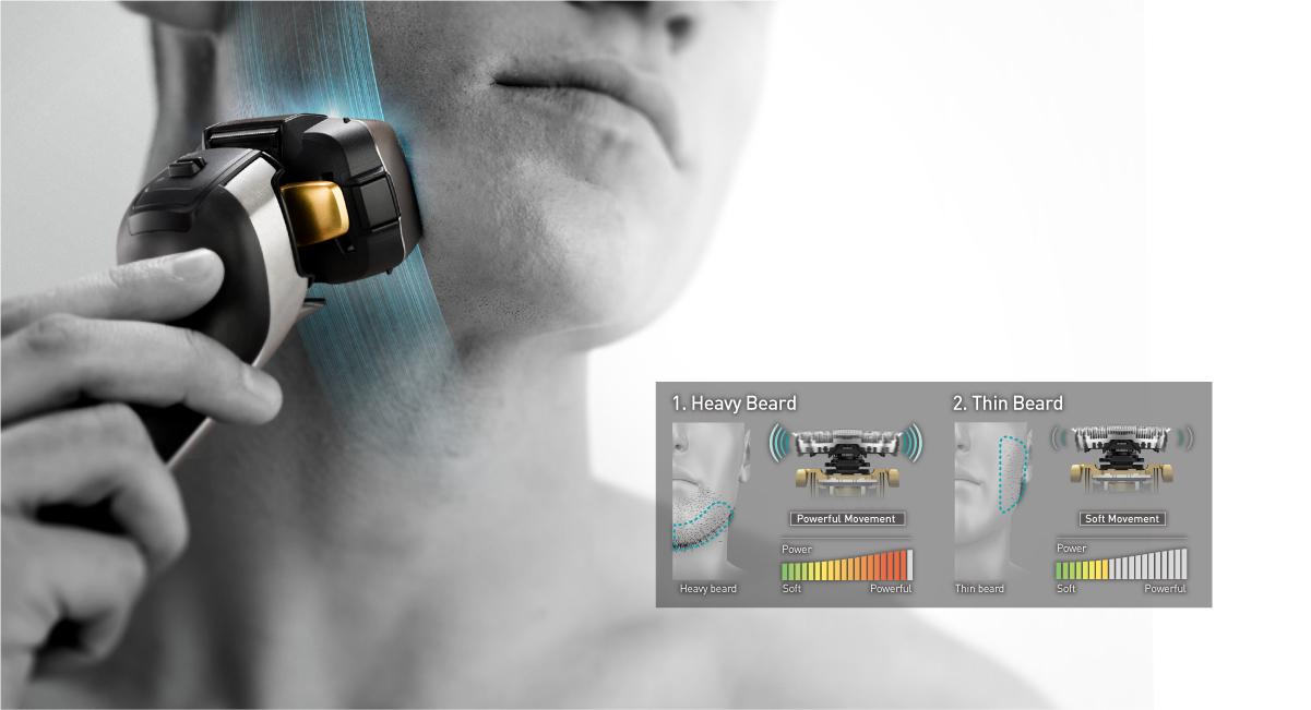 Shaving sensor detects beard density and control shaving power