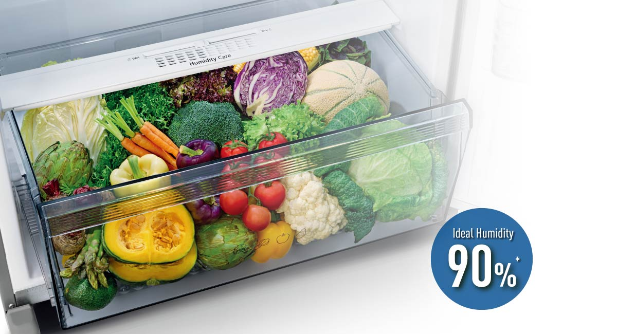 Controls humidity to keep vegetables fresh