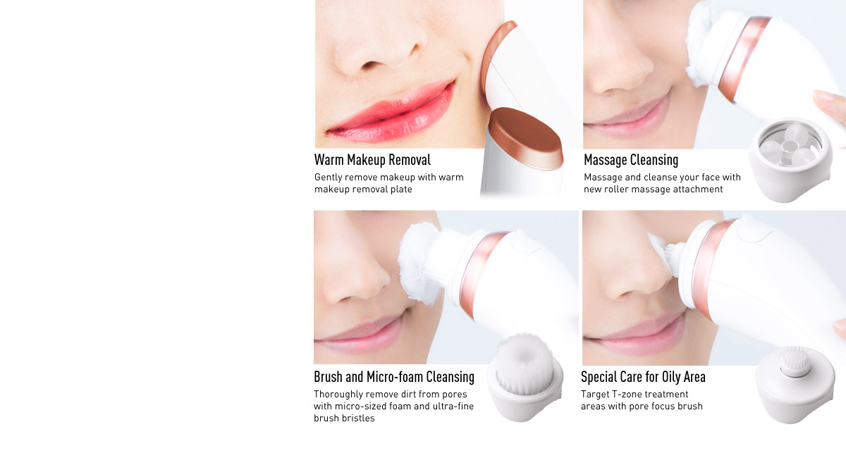 One micro-foaming cleansing and massage device gives you all-around facial care, leaving your skin clean and refreshed