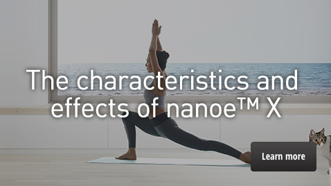 "A link to the ""Characteristics and 8 effects of nanoe™ X"" page"