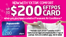 Panasonic Air Conditioner Promotion – Claim up to $200*!