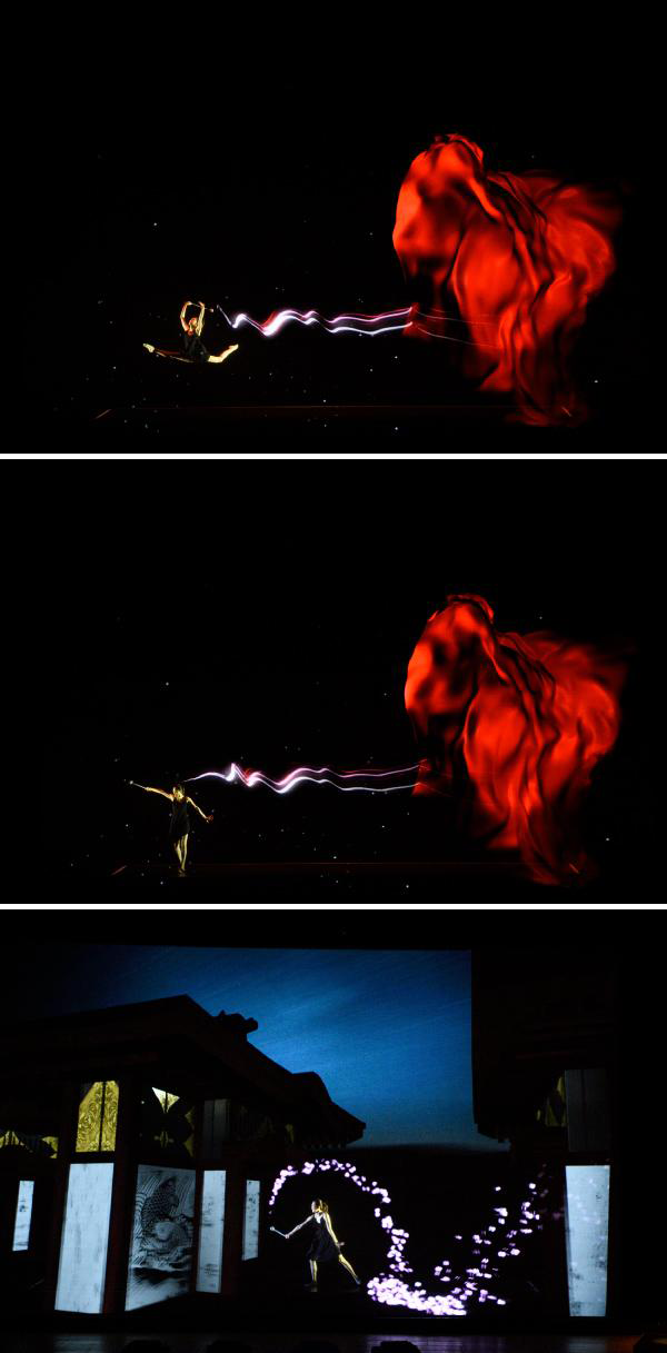 Photo: Real-time tracking and projection mapping make the viewer think that the dancer is moving in sync with the images.