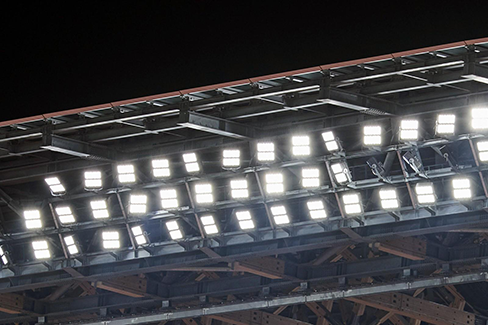 Photo: Lighting equipment in the stands