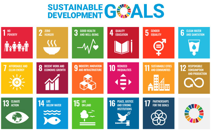 Image: Sustainable Development Goals. Goal 1: No Poverty, Goal 2: Zero Hunger, Goal 3: Good Health and Well-being, Goal 4: Quality Education, Goal 5: Gender Equality, Goal 6: Clean Water and Sanitation, Goal 7: Affordable and Clean Energy, Goal 8: Decent Work and Economic Growth, Goal 9: Industry, Innovation and Infrastructure, Goal 10: Reduced Inequalities, Goal 11: Sustainable Cities and Communities, Goal 12: Responsible Consumption and Production, Goal 13: Climate Action, Goal 14: Life below Water, Goal 15: Life on Land, Goal 16: Peace, justice and strong institutions, Goal 17: Partnerships for The Goals. These development goals will continue to be in agreement worldwide as we proceed toward 2030.
