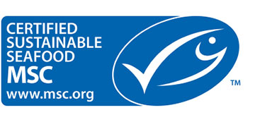 "Image: The MSC certification mark. MSC certification is certified by Marine Stewardship Council for sustainably and properly managed fisheries. The mark is displayed as follows. ""CERTIFIED SUSTAINABLE SEAFOOD, MSC, www.msc.org"""