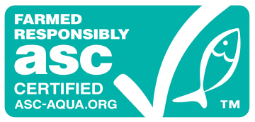 "Image: ASC certification mark. ASC certification is regulated by the Aquaculture Stewardship Council for responsible fish farming to minimize the environmental load on the environment and society. The mark is displayed as follows. ""Farmed Responsibly, asc certified, ASC-AQUA.ORG"""