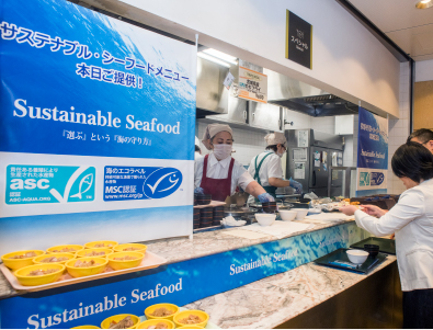"Photo: Service corner at the Panasonic corporate cafeteria. Sustainable seafood information posters are on display. The posters describe the ""Special Sustainable Seafood Menu of the Day!"""