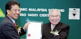 Photo of Panasonic Malaysia awarded MS 1SO 14001:1997 Standard Certification for Environmental Management Systems by SIRIM QAS International Sdn. Bhd