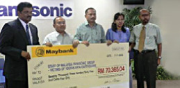 Photo of Panasonic Malaysia jointly contributed with Panasonic Group of Companies the sum of RM70,364.04 to the Yogyakarta Earthquake Relief Fund