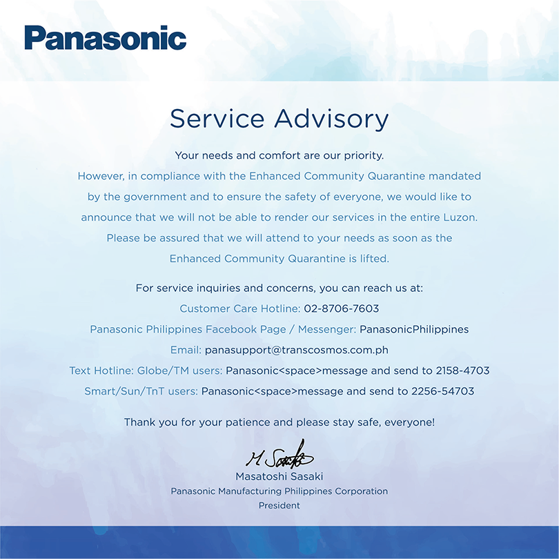 Panasonic Advisory (Enhanced Community Quarantine)