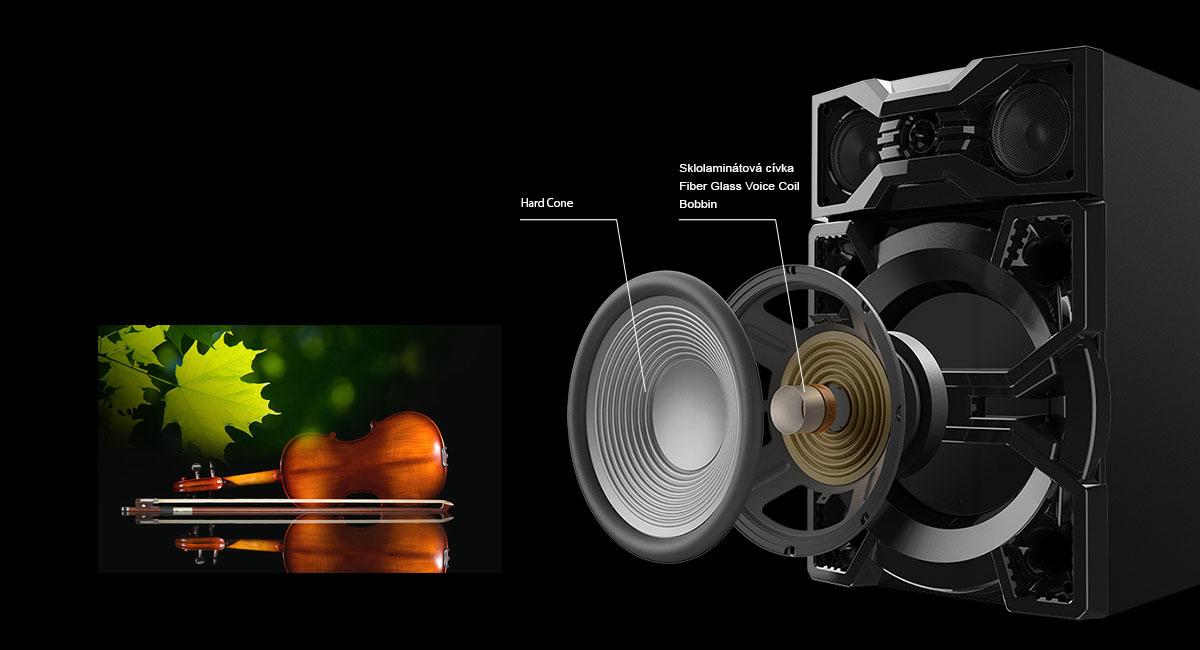 Materiál reproduktorů přesně přenáší basy a jasné hlasy