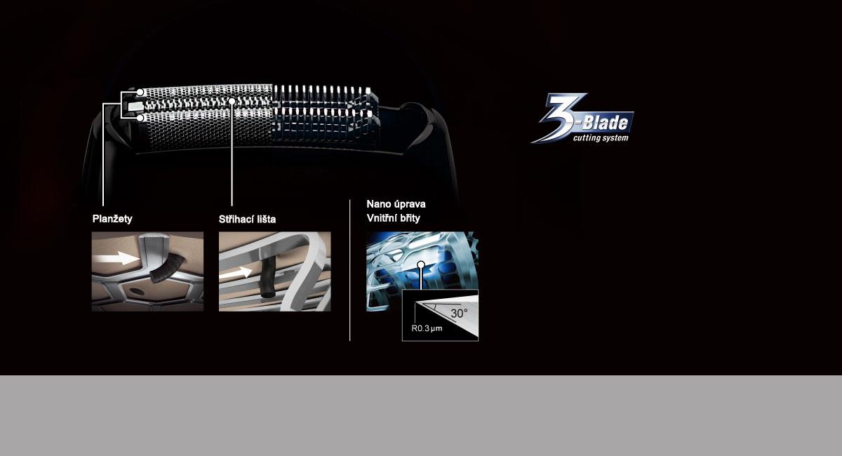 3břitý řezný systém pro dokonalé a rychlé oholení