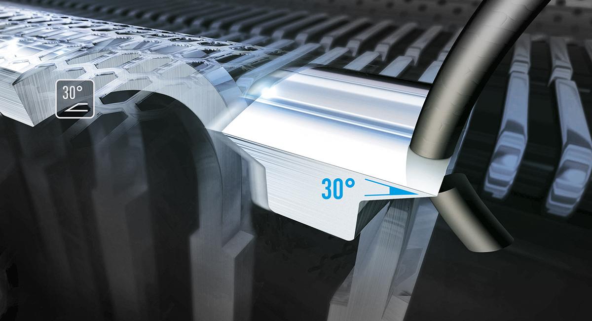 Břity s nano úpravou; holení pod úhlem 30°