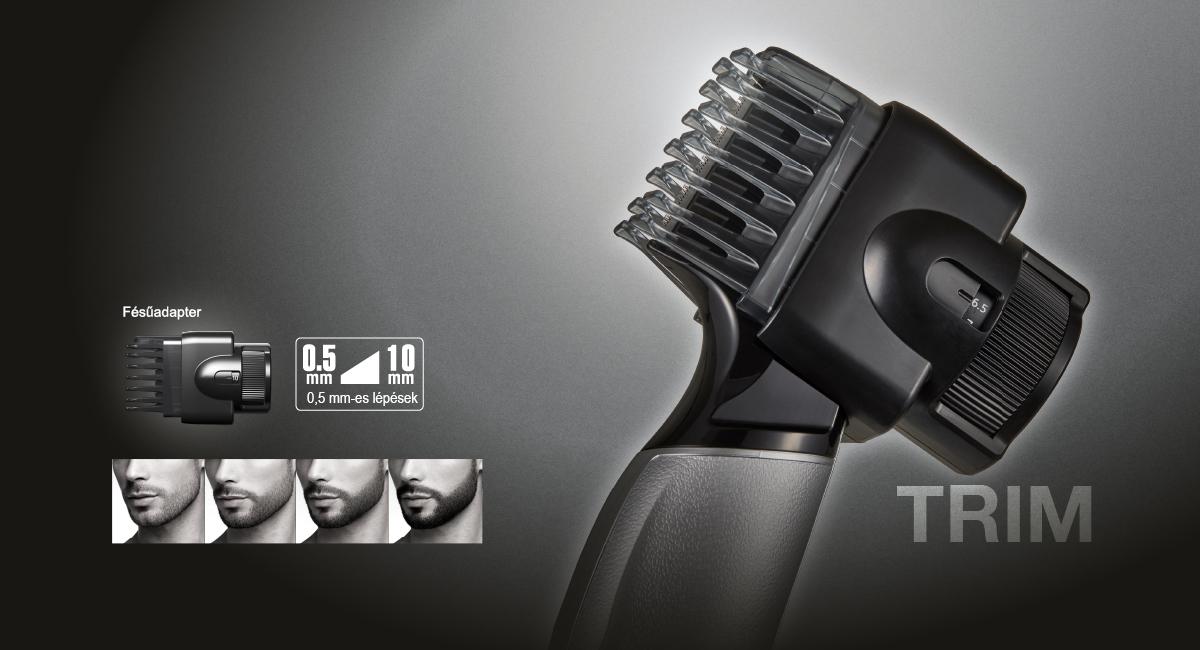 Egyenletes szakállhossz fésűadapterrel