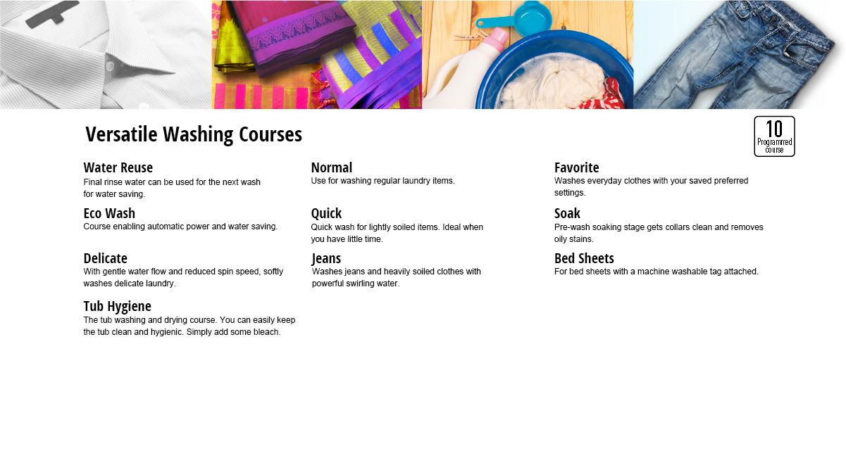 Versatile Washing Courses