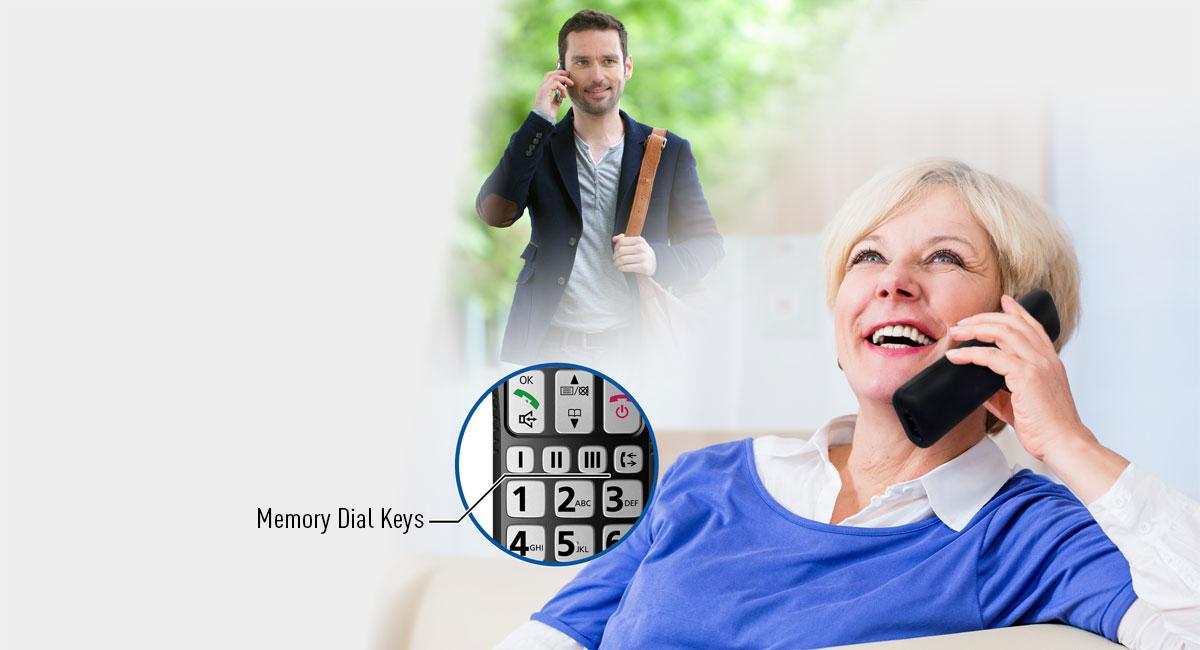 Three Dedicated Memory Dial Keys on Handset