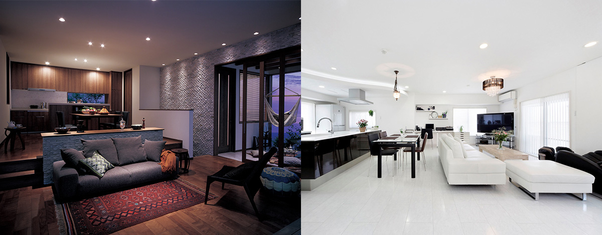 1.Living room with chic atmosphere. 2.Interior design with clean and bright image.