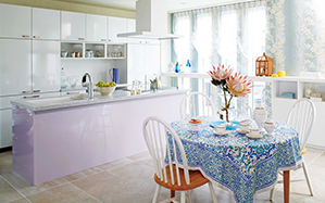 Pastel colour interior design gives gentle and charming impression for the room.