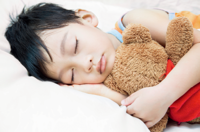 Child sleeping comfortably in a clean and refreshing air environment.