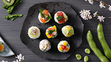Sushi balls with fruit and vegetables