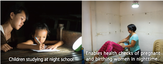 Children studying hard at night school,Enables health checks of pregnant and birthing women in nighttime.
