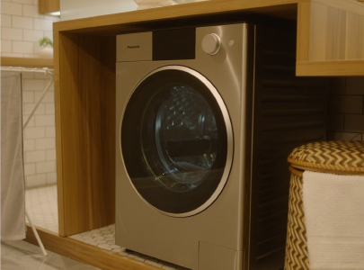 Photo: ALPHA series washer/dryer incorporating a nanoe(TM) X device and installed in a home.