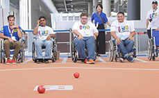 Photo: Playing boccia