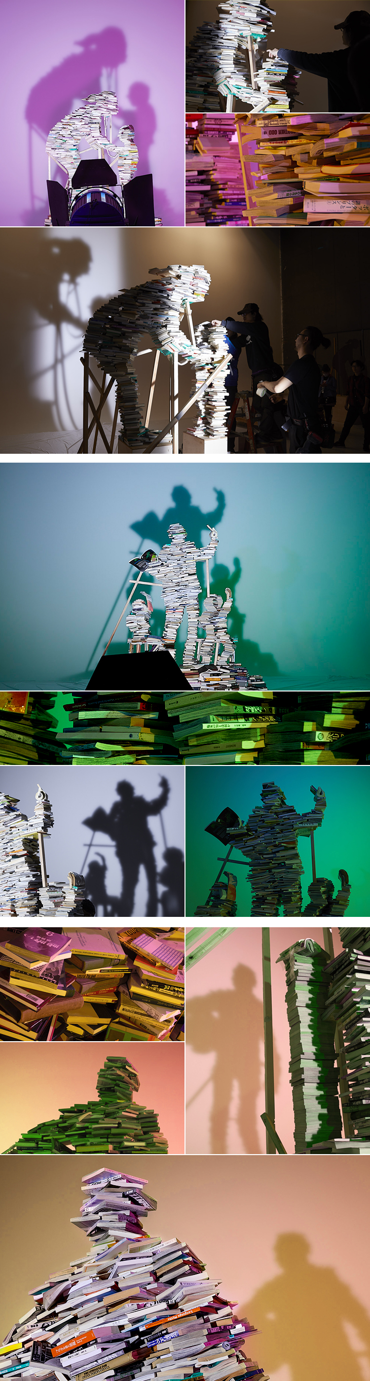 Photo:We created actual artworks using books and took photos.