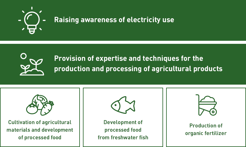 Raising awareness of electricity use, Provision of expertise and techniques for the production and processing of agricultural products, Cultivation of agricultural materials and development of processed food, Development of processed food from freshwater fish, Production of organic fertilizer