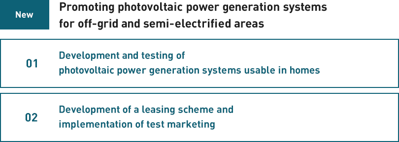 [New]Promoting photovoltaic power generation systems for off-grid and semi-electrified areas:01 Development and testing of photovoltaic power generation systems usable in homes 02 Development of a leasing scheme and implementation of test marketing