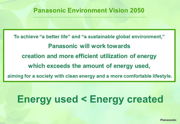 "Panasonic Environment Vision 2050:To achieve ""a better life"" and ""a sustainable global environment,"" Panasonic will work towards creation and more efficient utilization of energy which exceeds the amount of energy used, aiming for a society with clean energy and a more comfortable lifestyle. Energy used < Energy created"