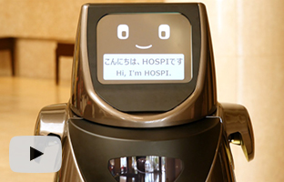 View the movie, Demonstration Experiments of HOSPI(R), the Autonomous Delivery Robot, at an Airport and Hotel