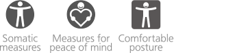 There are 3 UD compatible items, Somatic measures,Measures for peace of mind,Comfortable posture