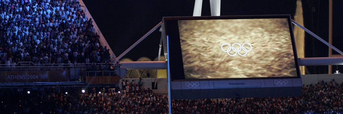 Photo: The Olympic rings being shown on a movable ASTROVISION large display unit used for the opening ceremony of the Olympic Games Athens 2004
