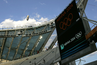 Photo: The Olympic rings and Olympic Games Athens 2004 emblem being shown on an ASTROVISION large display unit installed at a venue of the Olympic Games Athens 2004