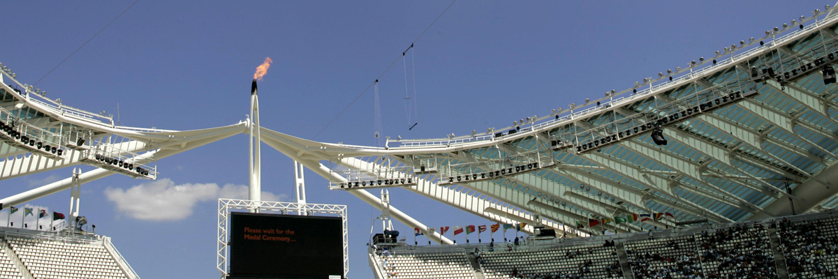 Photo: Professional RAMSA audio system equipment suspended from the ceiling of a venue of the Olympic Games Athens 2004