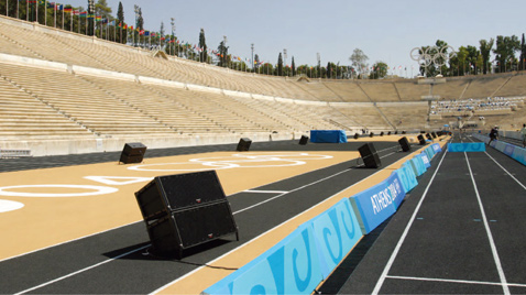 Photo: RAMSA line array speakers installed on the ground of a venue of the Olympic Games Athens 2004