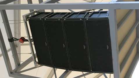 Photo: RAMSA line array speakers installed horizontally at a venue of the Olympic Games Athens 2004