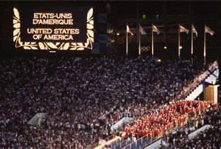Photo: The American delegation being presented on an ASTROVISION large display unit installed at the main stadium of the Olympic Games Atlanta 1996