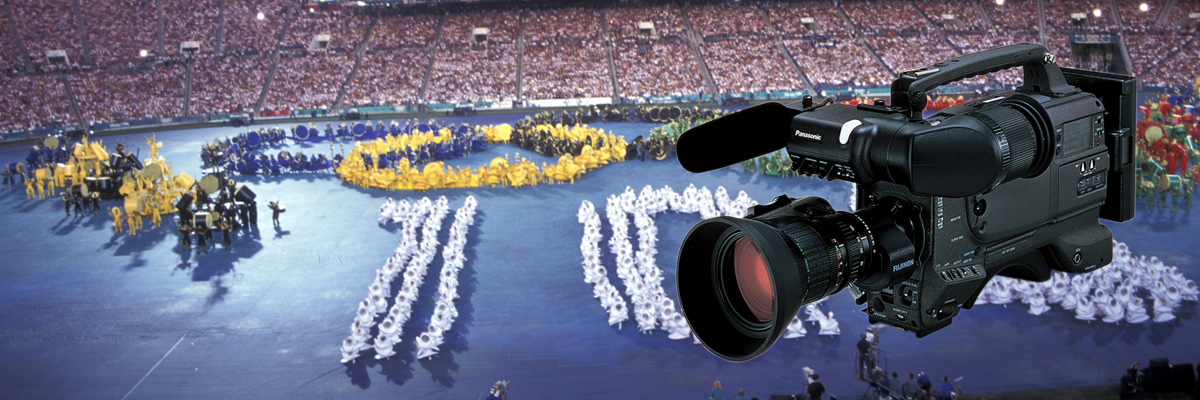 Photo: Camera recorder and panoramic view of the stadium where the opening ceremony of the Olympic Games Atlanta 1996 was held