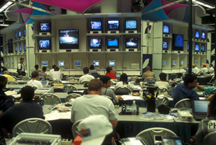 Photo: Staff working at the International Broadcast Center (IBC)